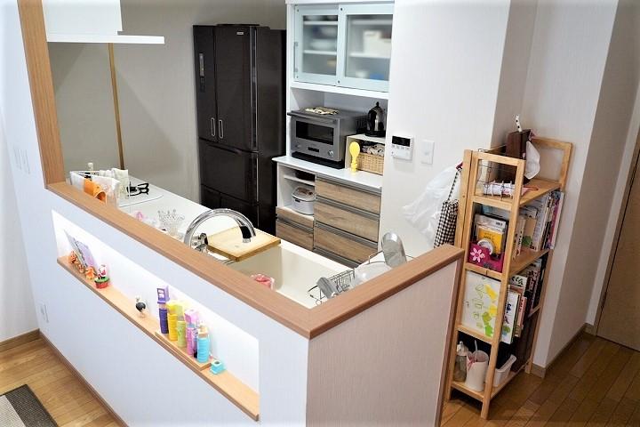 垂れ壁を撤去して開放感をアップさせたキッチンリフォーム事例/京都市下京区