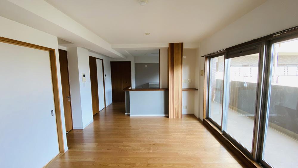 床暖房も張替え!高級突板フローリングでのリビングリフォーム/京都市中京区